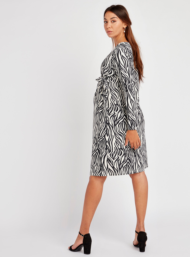 Printed Midi A-line Wrap Dress with Long Sleeves and Tie Ups