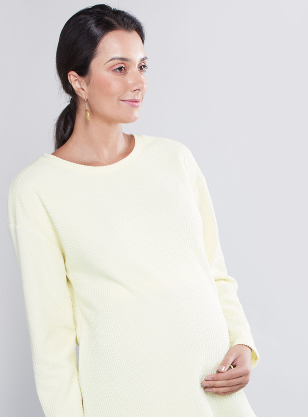 Maternity Textured T-shirt with Round Neck and Long Sleeves
