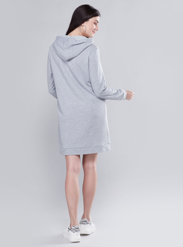 Maternity Shift Dress with Long Sleeves and Hood