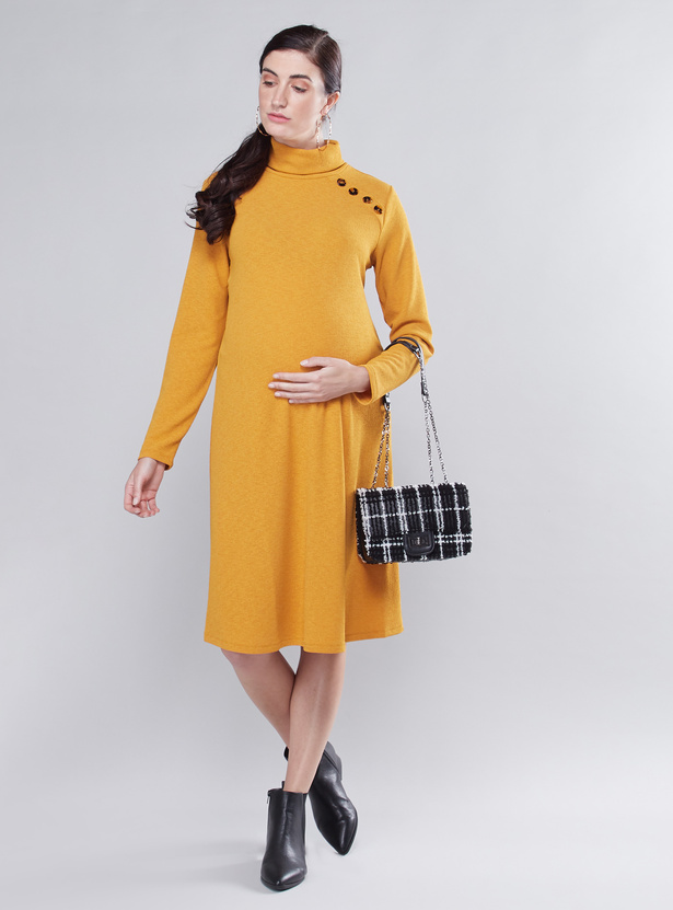 Maternity Textured Shift Dress with Turtleneck and Long Sleeves