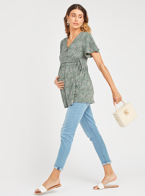 Maternity Printed Wrap Top with V-neck and Short Sleeves