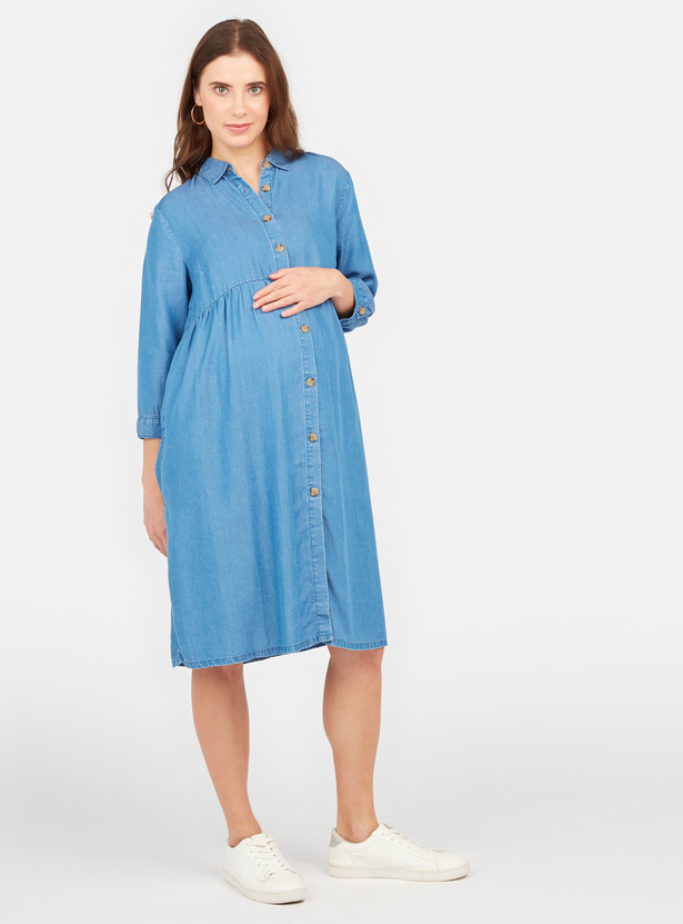 Textured Maternity Shirt Dress with Long Sleeves