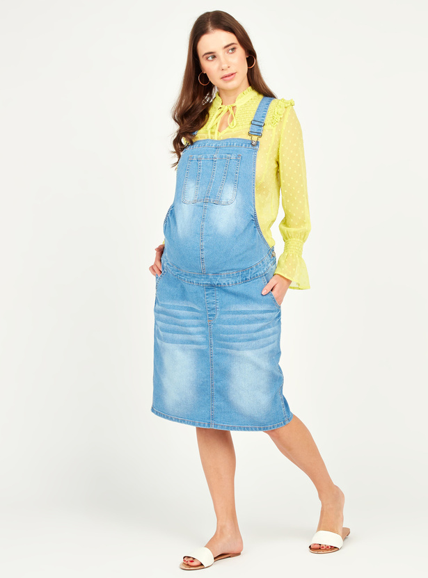 Textured Maternity Denim Dungarees with Adjustable Straps and Pockets