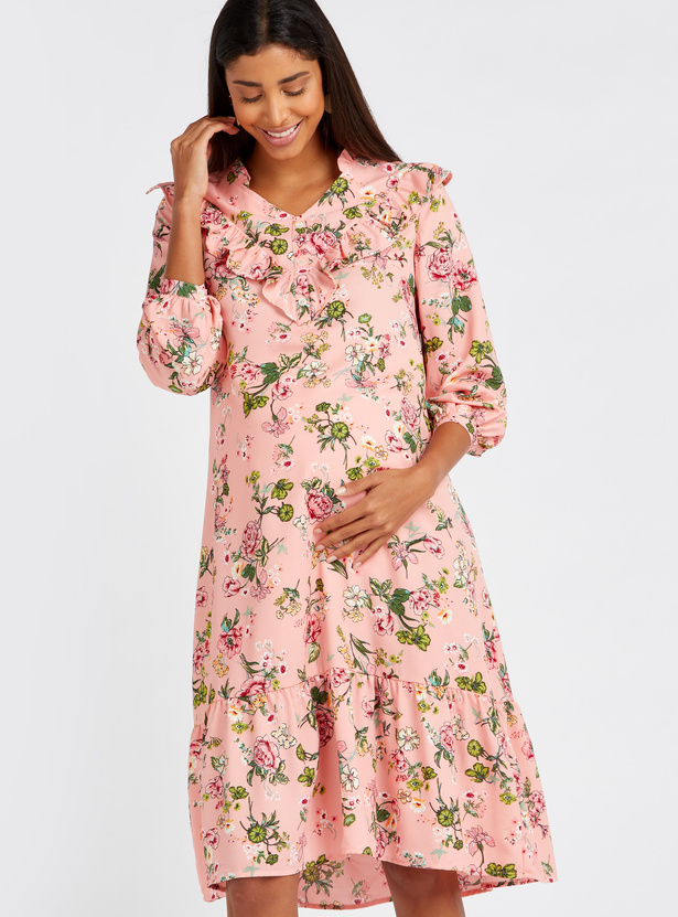 Floral Print V-Neck Maternity Dress with 3/4 Sleeves and Ruffle Detail