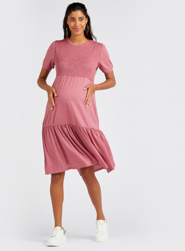 Maternity Smocking Detail Knee Length Tiered Dress with Short Sleeves