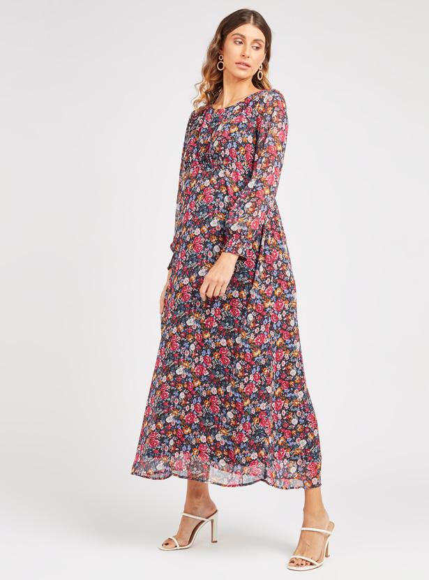 فستان إيه لاين طويل للحوامل بأكمام بيشوب وطبعات أزهار