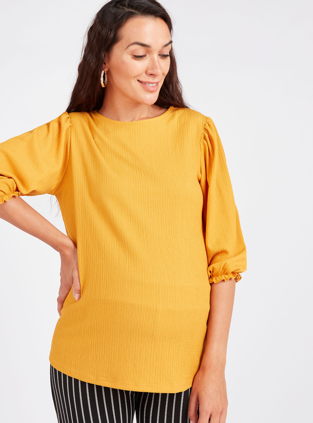 Maternity Textured Top with Round Neck and 3/4 Sleeves