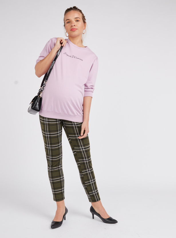 Maternity Chequered High-Rise Leggings with Elasticised Waistband