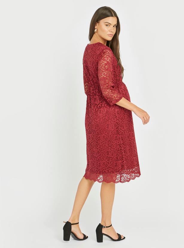 Maternity Textured Midi A-line Dress with 3/4 Sleeves and Lace Detail