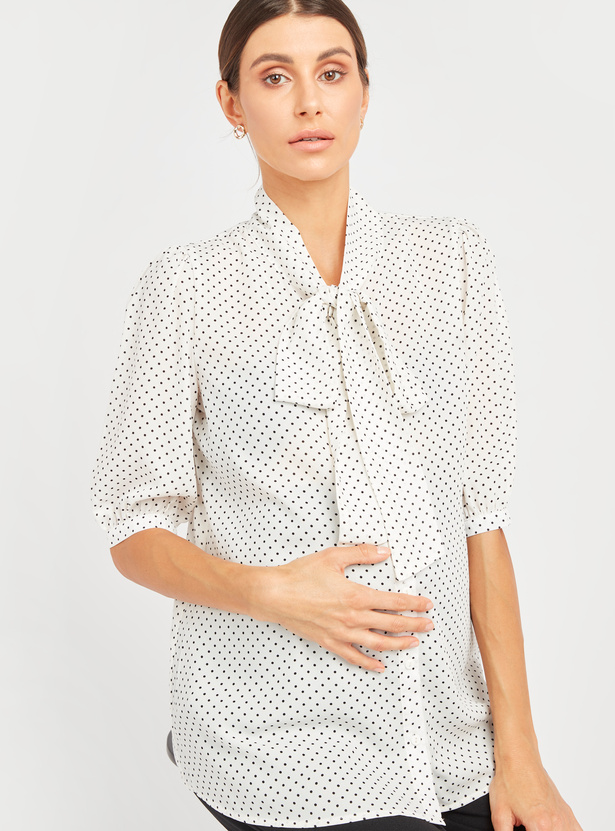Polka Dot Print Maternity Top with Necktie and Short Sleeves