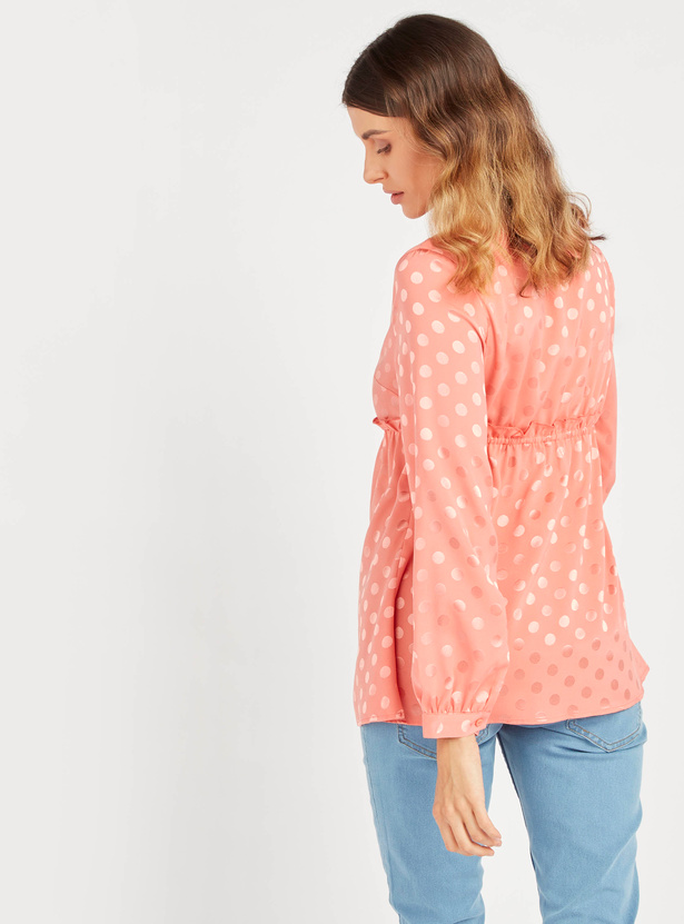 Maternity Polka Dots Print Peplum Top with V-neck and Long Sleeves