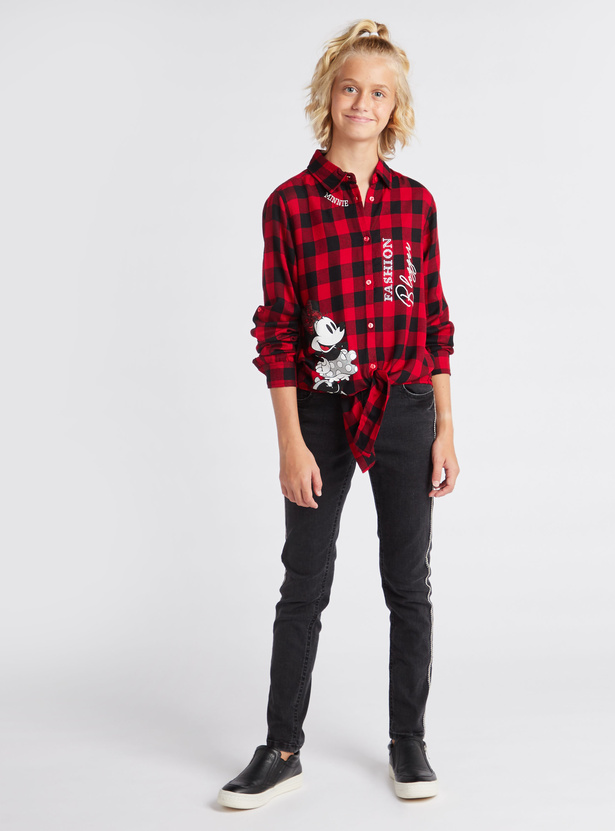 Minnie Mouse Checked Collared Neck Shirt with Long Sleeves