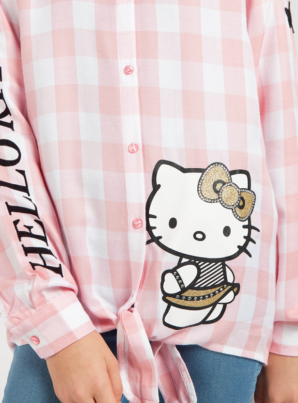Hello Kitty Print Checked Shirt with Collared Neck and Front Knot