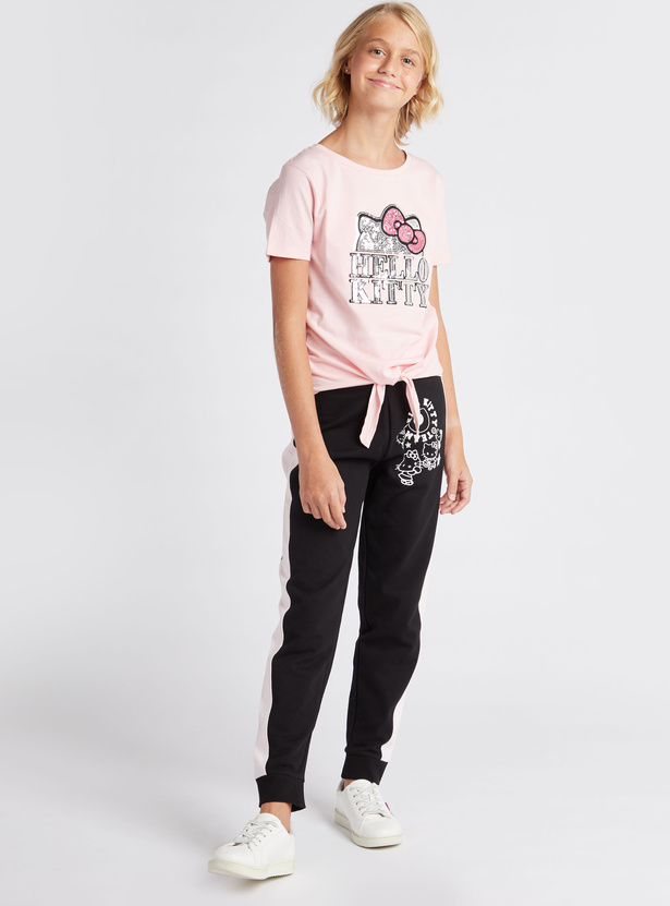 Hello Kitty Embellished Round Neck Knot Top with Short Sleeves