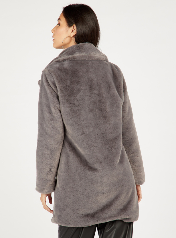 Textured Fur Coat with Long Sleeves and Button Closure