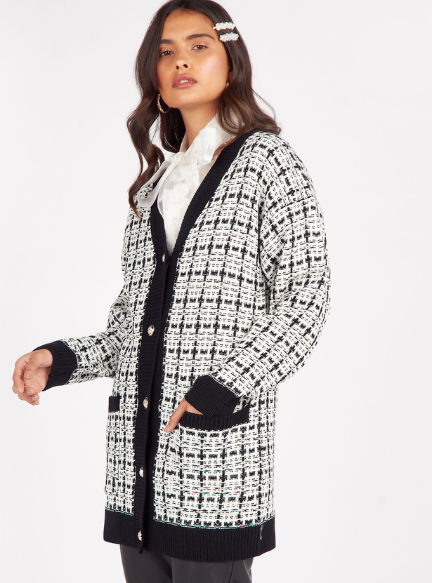 Knitted V-neck Jacket with Long Sleeves and Button Front Closure