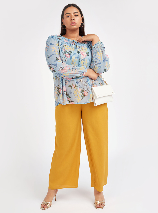 Textured Mid-Rise Palazzo Pants with Belt and Elasticised Waistband