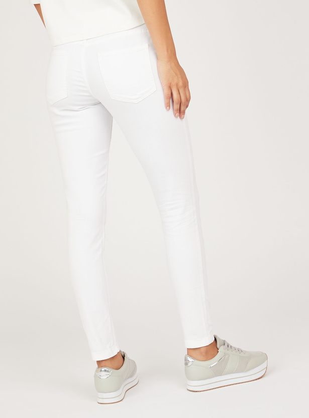 Solid Denim Jeggings with 4-Pockets