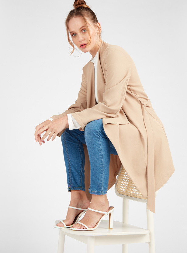 Solid Longline Coat with Long Sleeves and Belt