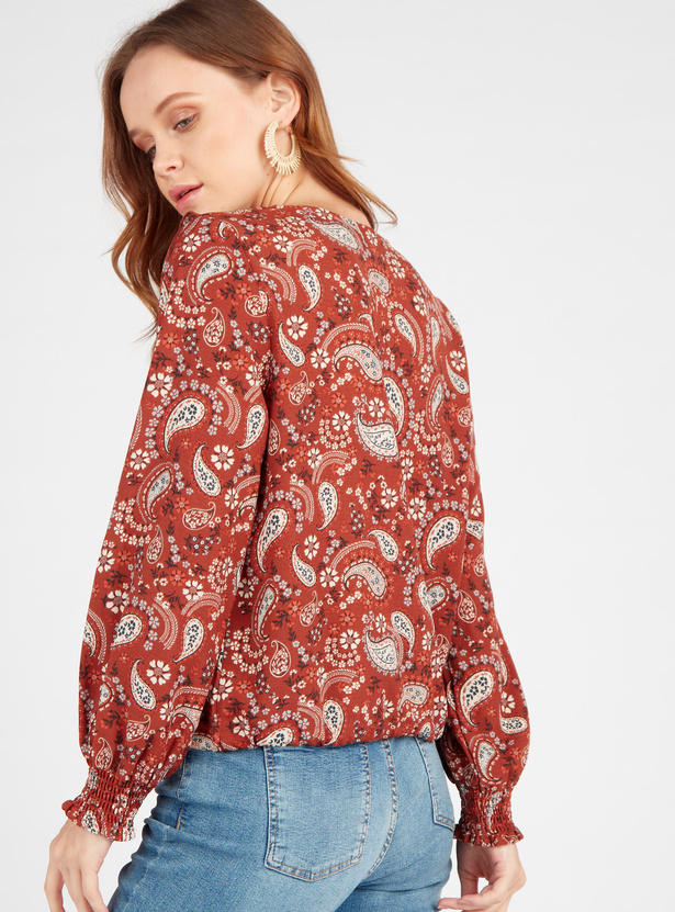 Paisley Print Top with V-neck and Long Sleeves