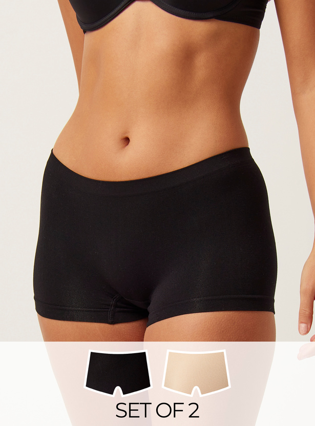 Set of 2 - Assorted Boyleg Shaping Briefs with Elasticised Waistband