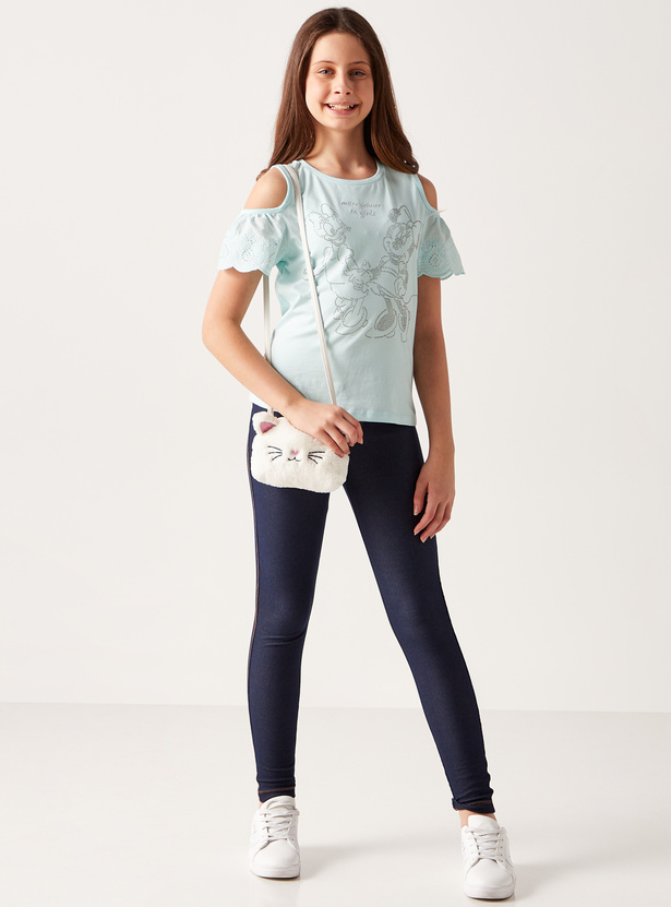Full Length Solid Jeggings with Elasticised Waistband