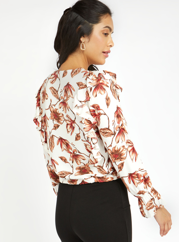 Floral Print Top with V-neck and Ruffle Detail