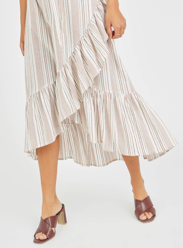 Striped Midi Wrap Dress with V-neck and Short Sleeves