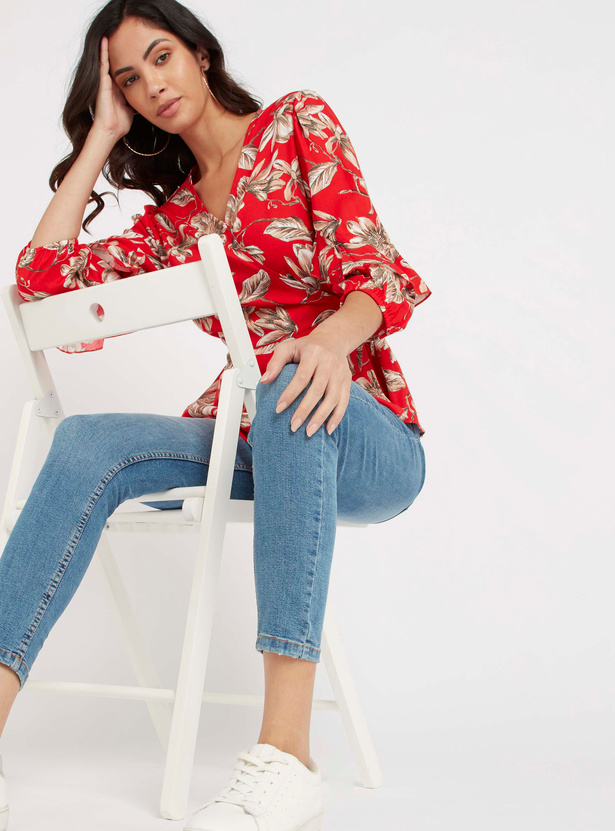 Floral Print Wrap Top with V-neck and Tie Ups