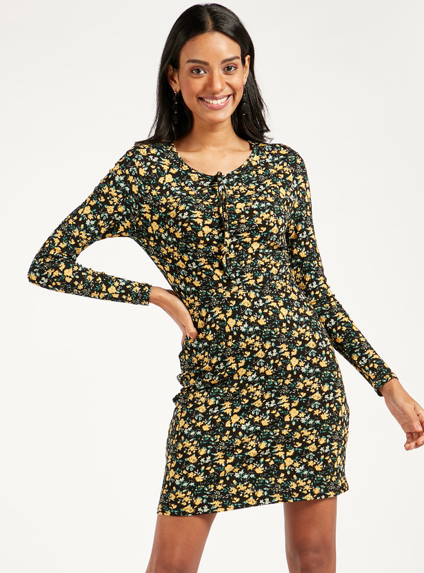 Floral Printed Mini Bodycon Dress with Long Sleeves