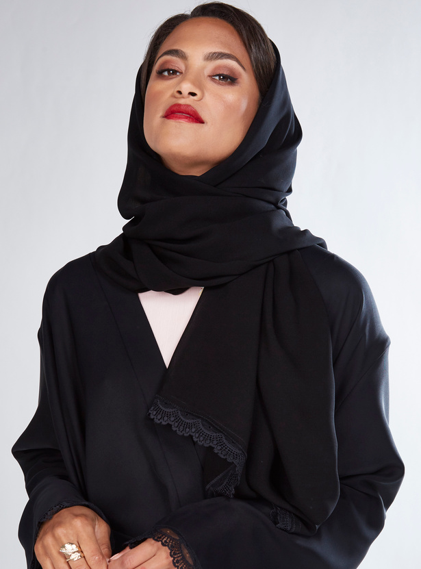 High Low Hem Abaya with Lace Trims and Tie Up Belt