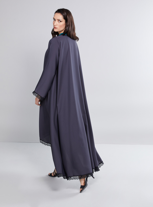 Lace Detail Abaya with Long Sleeves and High Low Hem