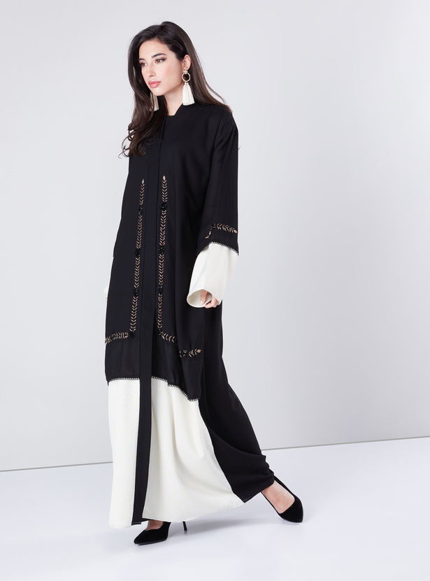 Embellished Abaya with Long Sleeves and Contrast Panel