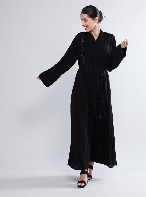 Embellished  Abaya with Long Sleeves and Hook Closure