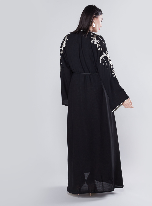 Full Length Embroidered Abaya with Long Sleeves and Tie Ups