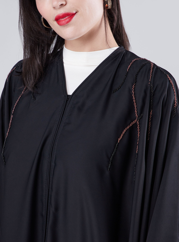 Embellished Detail Abaya with V-neck and Long Sleeves