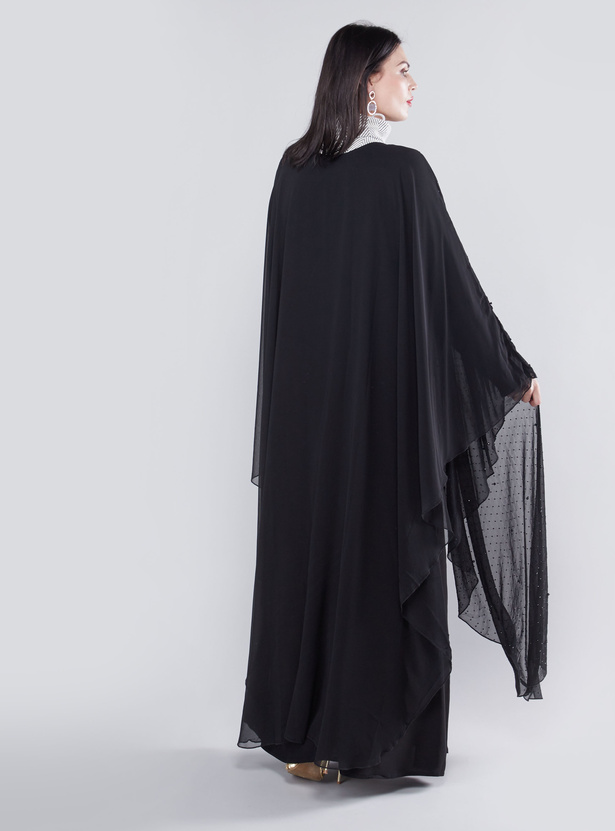 Embellished Abaya with High Neck and Long Sleeves