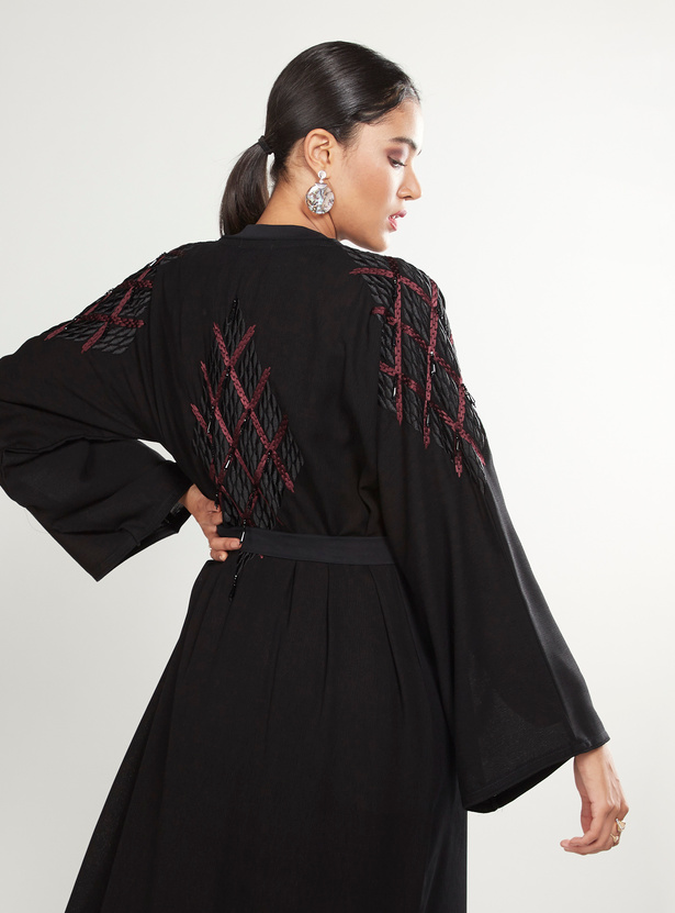 Sequin Detail Abaya with Long Sleeves and Tie Ups