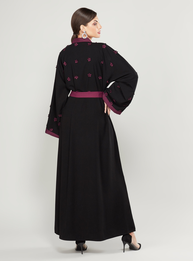 Flower Applique Detail Abaya with Long Flared Sleeves