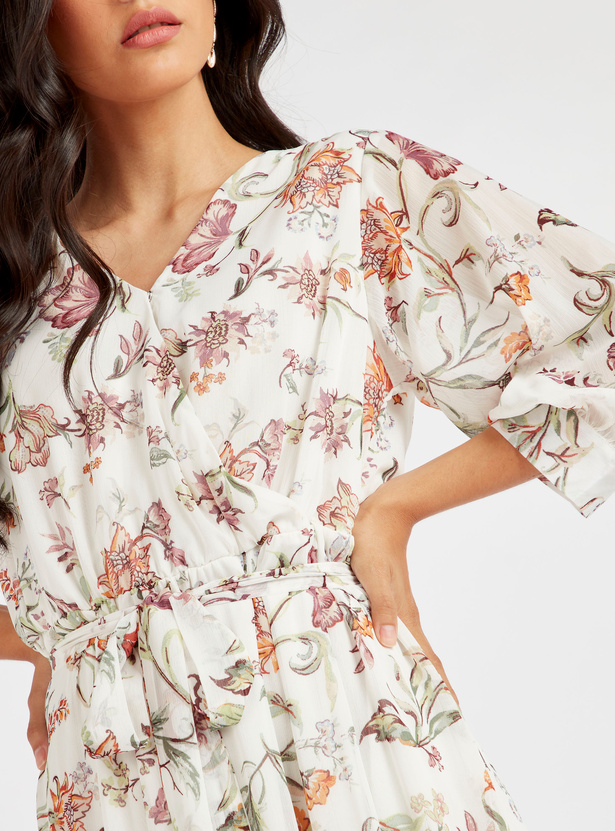 Floral Print Tiered Maxi Dress with Long Sleeves