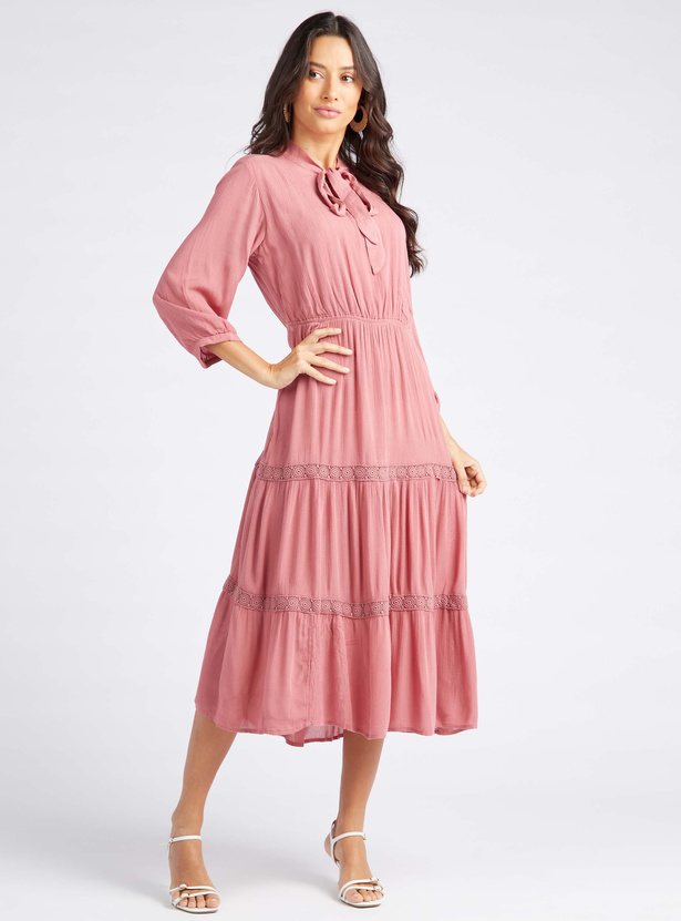 Textured Midi Tiered Dress with Pussy Bow Detail and 3/4 Sleeves