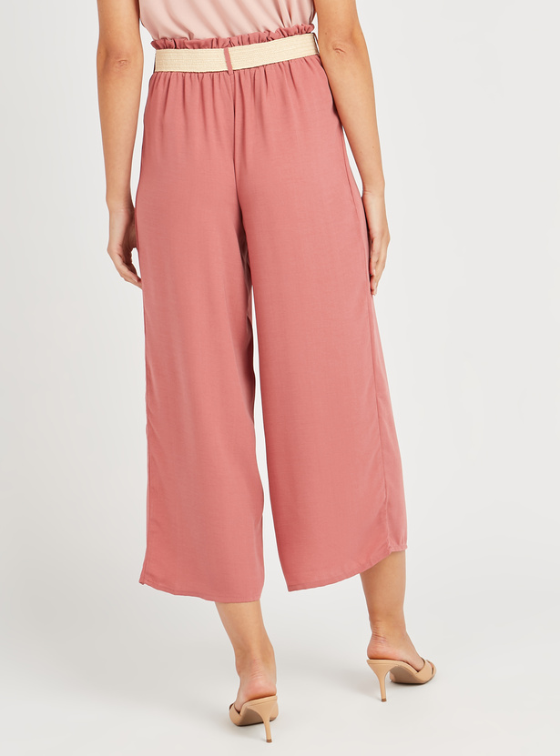 Solid Culottes with Paper Bag Waist and Belt
