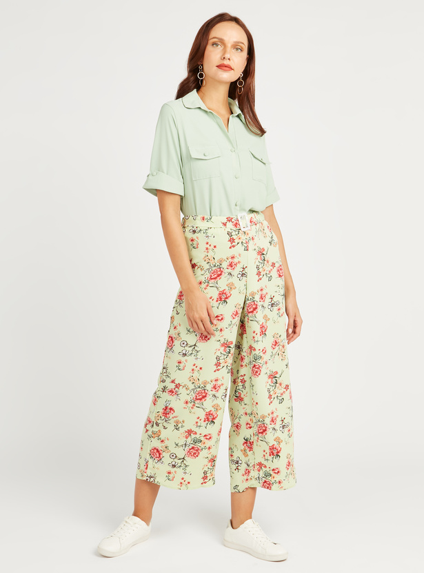 Printed Culottes with Belt