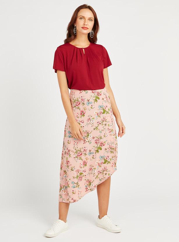 Printed Midi Skirt with Elasticised Waistband and Asymmetric Hem