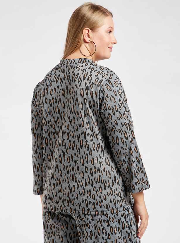 Animal Printed Top with High Neck and Long Sleeves