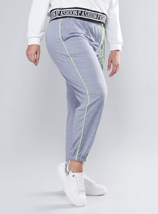 Plain Mid Waist Jog Pants with Elasticised Waistband and Pocket Detail