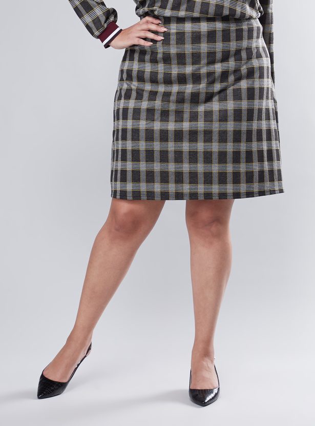 Chequered A-line Mini Skirt