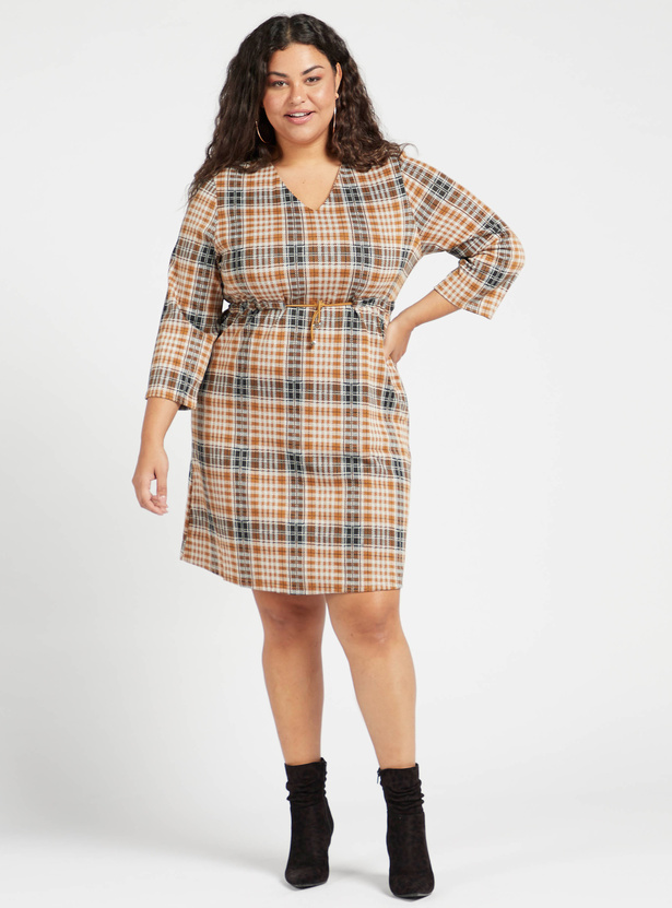 Chequered Shift Dress with 3/4 Sleeves