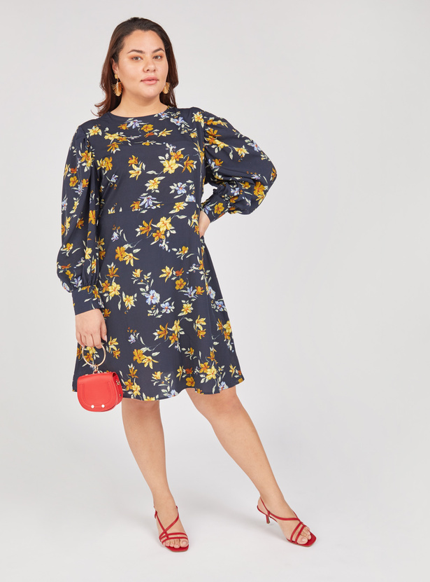 Floral Print Round Neck Mini Dress with Bishop Sleeves