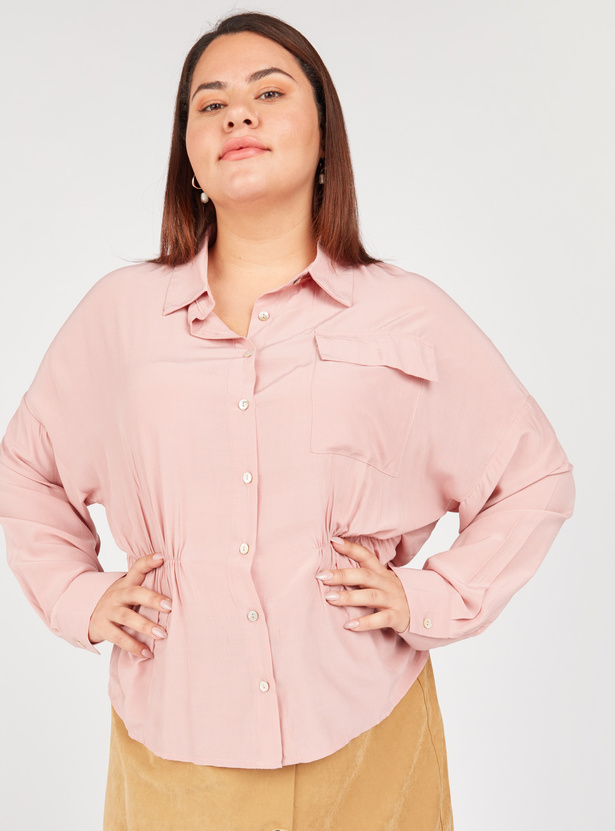 Solid Longline Shirt with Spread Collar and Long Sleeves